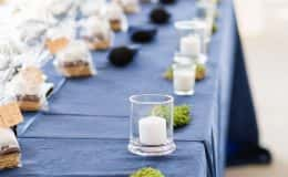 Rustic headtable with navy blue linen