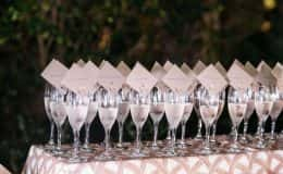 Escort cards in champagne glasses