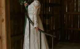 Beautiful Bride on a spiral staircase