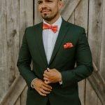 hunter green suit worn by groom