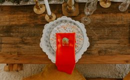 Sweetheart table setting with mini Patron bottle