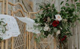 Wedding arch at barn wedding