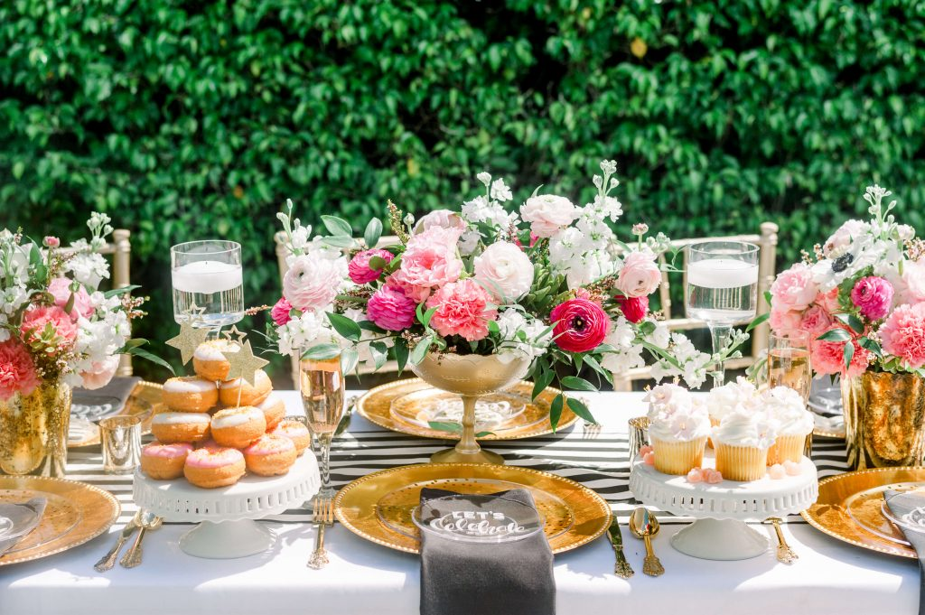 Kate Spade inspired tablescape with florals