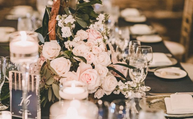 Florals and candles centerpiece
