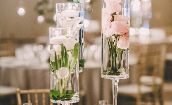 Florals in vases centerpiece