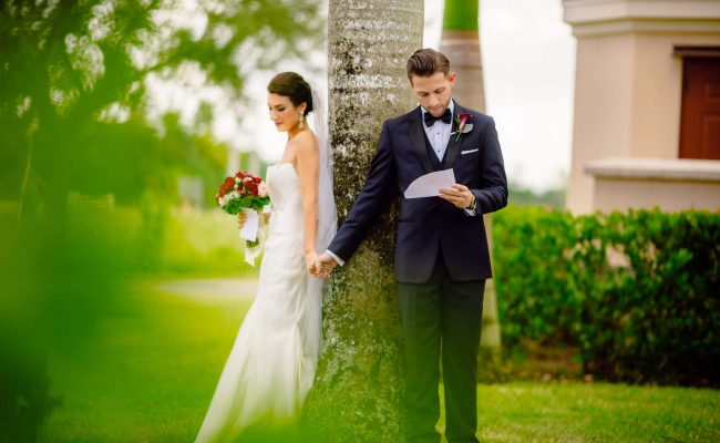 Groom reading letting to bride