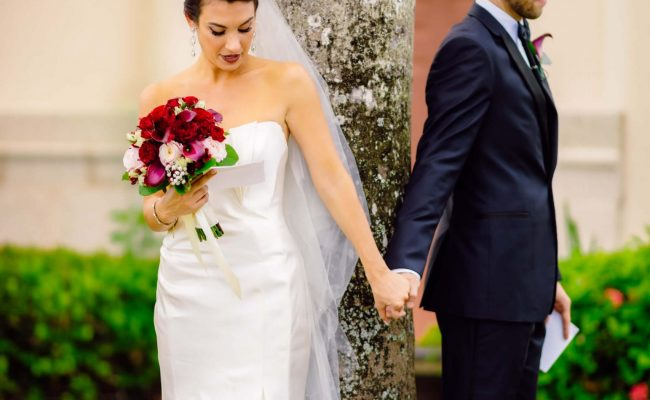 Holding hands before ceremony