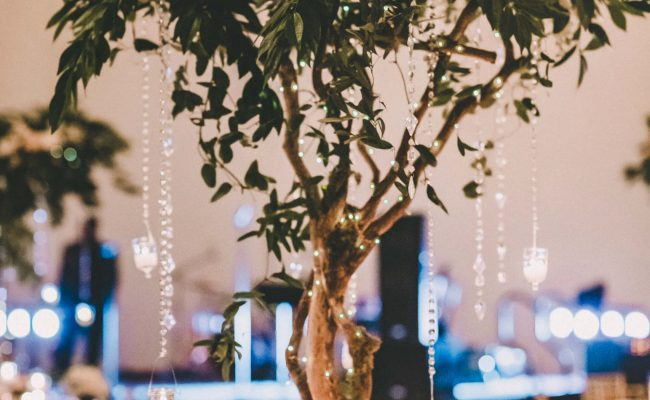 Tree with crystals centerpiece